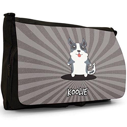 Australiano Cartoon cani grande borsa a tracolla Messenger Tela Nera, scuola/Borsa Per Laptop Australian Koolie, Coolie