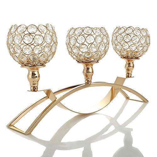 nder 3-armig Kristall Kerzenhalter Metall Golden kandelaber Wohnaccessoires Votiv Weihnachten Dekoration (Halloweeen Dekorationen)