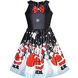 feiXIANG Vestito Natale Neonata Vestito di Bow Natale Cervo Santa Abito Ragazza Eleganti da Cerimonia Ragazze Abiti Principessa Vestiti Barbie Gonna Nera Ragazza