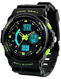Dictac Montre de Sport Imperméable pour Natation, Montre-bracelet 50M étanche et anti-choc Watch pour Hommes, Femmes et enfants (L, Vert)