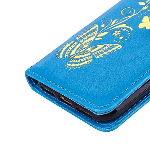 Coque iPhone 7 Plus, MSK® Bronzante Papillon Fleur imprimé Etui Cuir Folio Portefeuille Protection Pour Apple iPhone 7 Plus Case Protection Cover - Pourpre Bleu