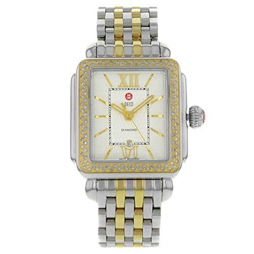 Michele Signature Deco Diamond Silver Guilloch Two-Tone Ladies Watch MWW06T000061