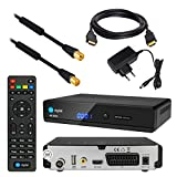 Kabel Receiver DVB-C SET: HB DIGITAL HD 350C DVB-C Receiver für Kabelfernsehen + 20m HDTV Antennenkabel vergoldet mit Mantelstromfilter schwarz + HDMI Kabel (Full HD Ready, HDTV, HDMI, SCART, USB 2.0, SPDIF Koaxial Ausgang, 230V/12V Camping Receiver)