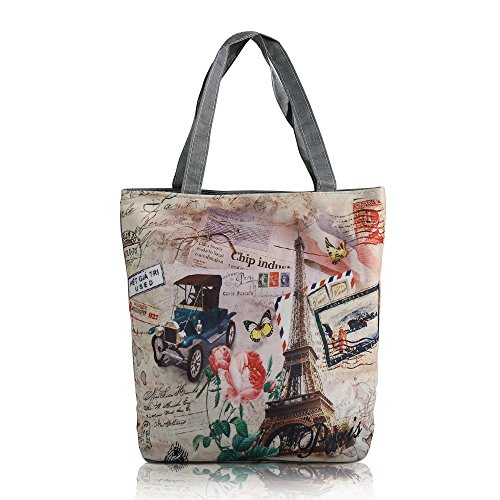mStick Women's Zipped Fashion Canvas Tote Large Space Zipper Hand Bag - Love Paris  available at amazon for Rs.99