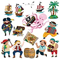Decowall Pirates & Treasure Island Kids Wall Stickers Wall Decals Peel and Stick Removable Wall Stickers for Kids Nursery Bedroom Living Room (1310/8010)