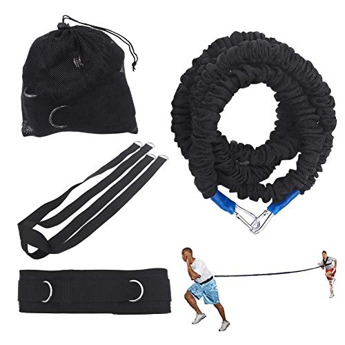 Seasaleshop Trainingsseil Body Tube Expander Fitnessband, Verstellbarer Gurtverankerung Riemen Überdrehzahl Beschleuniger Trainingsgeschwindigkeit Reactive Stretch Cord.