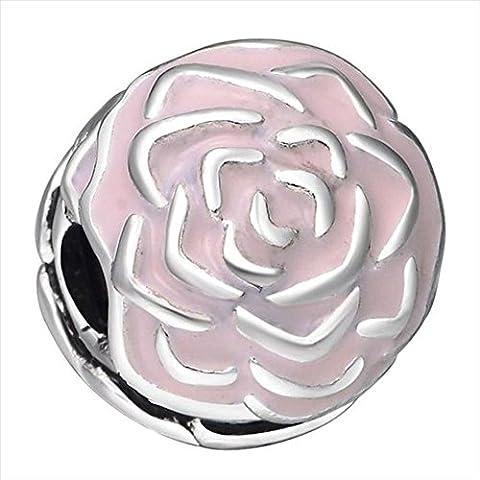 Waya Perles Européennes Rose Enameil Fleur Spacer Bracelet Charms pour bracelet Pendentif Collier Argent Serpent Bijoux