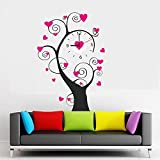 K2N Black With Pink Round Wall Clock 3d Mirror Sticker Big Watches Home Office Decorations