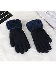 Longless Otoño e Invierno señoras dedos guantes tejidos de lana de terciopelo plus engrosamiento caliente guantes guantes de ciclismo de digitado de estudiantes