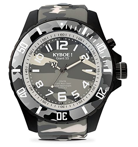 KYBOE! Quartz Stainless Steel and Silicone Watch (Model: Urban Camo)