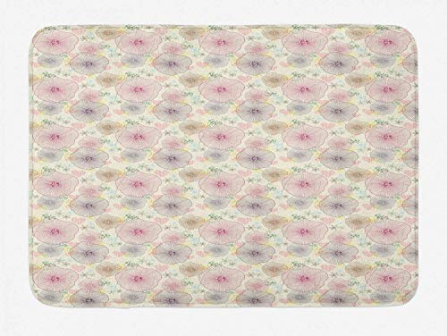 Floral Bath Mat, Geometric Petals of Flowers in Continuous Order Theme Print with Dotted Heart Shapes, Plush Bathroom Decor Mat with Non Slip Backing, Multicolor,19.6X31.4 inch/50 * 80cm Petal Crown Flower Shape