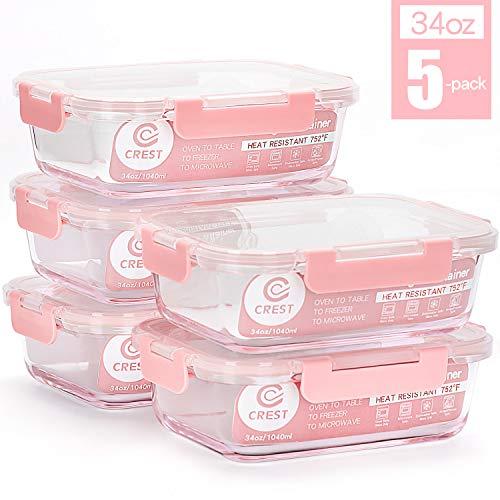 [1040 ml, Lot de 5] récipients alimentaires en verre avec couvercles pour la maison, la cuisine, verrouillage à l'air, étanche.