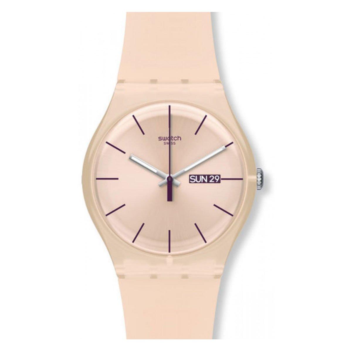 Swatch Reloj Analógico de Cuarzo para Mujer con Correa de Silicona –