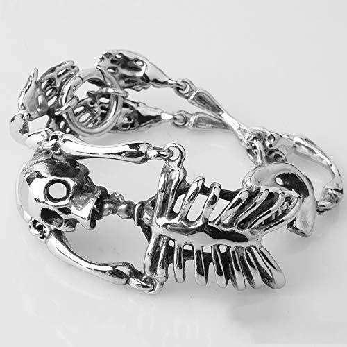 SG Herren Armband Schmuck Titan Stahl Edelstahl Gothic Skelett Armband Gold Schwarz Stahl Farbe,C