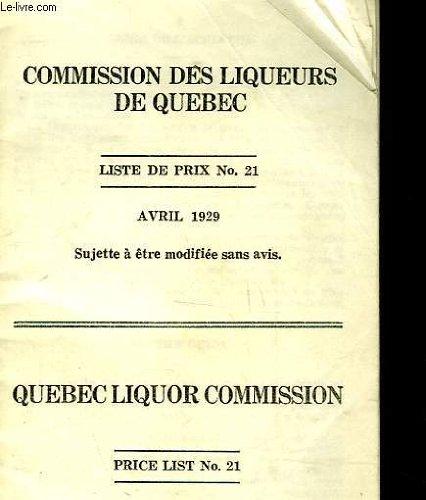 Commission des liqueurs de quebec - liste des prix n°21