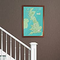 Butler and Hill Laminated UK Pinboard Map Framed in Dark Wood 53 x 76cm