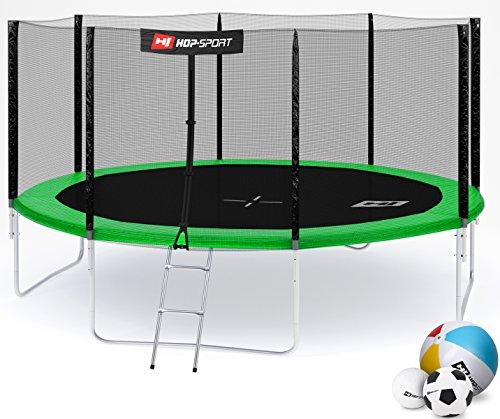 Hop-Sport Gartentrampolin 244, 305, 366, 430, 490 cm Komplettset inkl. Außennetz Leiter Wetterplane Erdanker Grün (430 cm)