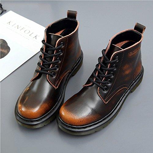 Sitaile Ladies Leather Boots Winter Boots Foderato Classico Breve Sparare Stivaletti Scarpe Basse Sneakers Tempo Libero Derby Impermeabile Nuovo Stile Marrone