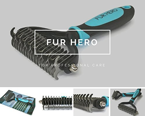 FurHero - Premium Hundebürste - Unterwollbürste & Unterfellbürste für Mittel- & Lang-Haar | Massage Kamm, Fellkamm | Unterfell & Unterwolle einfach entfernen & Verfilzungen lösen | Hundebürste | Katzenbürste | Hundekamm | Katzenkamm | Striegel