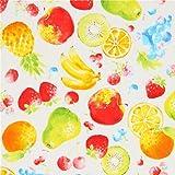 Cremefarbenes Wachstuch mit bunten Äpfeln, Birnen, Ananas,