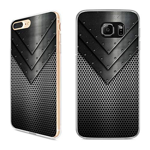 Handyhülle Metall für iPhone Apple Silikon Blech Silber Rost Kupfer Iron Gold Carbon Karbon Tuning, Kompatibel mit Handy:Apple iPhone 7, Hüllendesign:Design 1 | Silikon Klar -