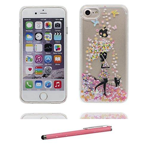 """iPhone 6 Hülle, [ Einhorn Liquid Fließendes Glitzer Bling Bling] iPhone 6S Handyhülle Cover (4.7""""), Floating sparkles iPhone 6 Case (4.7"""") Unicorn- Anti-Beulen und Touchstift Schwarzes Mädchen Umbrella"""
