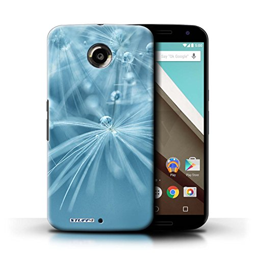 Kobalt® Imprimé Etui / Coque pour Motorola Nexus 6 / Fleur Violet conception / Série Gouttes de Fées Fleur Bleu