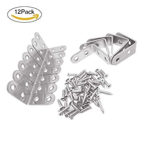 Newkeen 12 piezas 40 x 40 x 16 mm de acero inoxidable soporte de ángulo de 90 grados