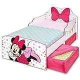 Disney Kinderbett mit Schubladen Minnie Mouse 140x70cm - mit Rausfallschutz