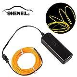 Onewell 15 ft Neonlicht, LED Neon LED Licht Glow EL Wire String Streifen Seil Tube für Auto Dekoration, Party, Halloween. (Gelb)