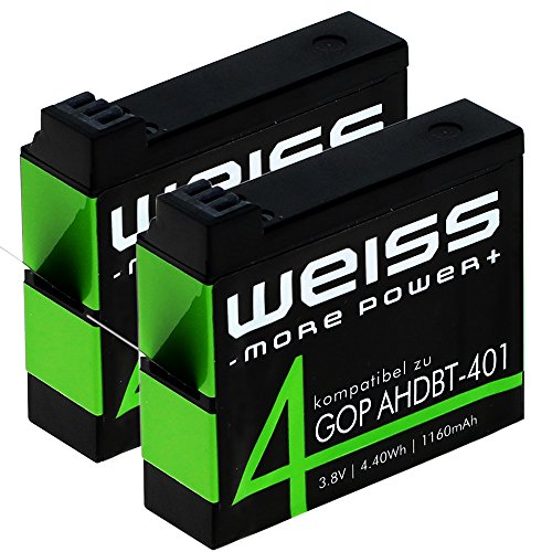 2x WEISS Akku für GoPro Hero 4 Black / GoPro Hero 4 Silver 1160mAh Hero4 [ersetzt: AHDBT-401] Li-Ion