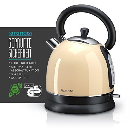 Arendo – Wasserkocher Retro 3000 Watt Retro Edelstahl/Teekessel | Schnellkoch-Wasserkocher | Füllmenge max. 1,8 Liter | automatische Abschaltung | in Creme