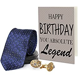 TiedRibbons® Men's Tie with Cufflinks Set and Greeting Card | a birthday gift for boyfriend
