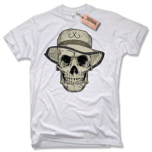 ANGLER SKULL T-Shirt, Funshirt, angeln, fischen, verschiedene Farben, Gr. S - XXL weiß / white