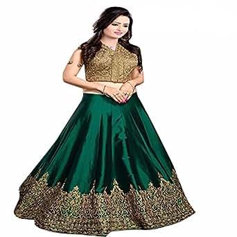 vaankosh fashion Cotton Silk Lehenga Choli (B01J89BSPY_Green_ )