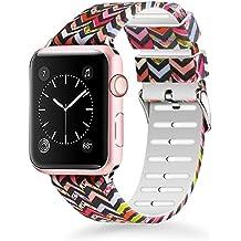 Lwsengme para Apple Watch Correa 38MM 42MM, Silicona Suave Reemplazo Correo de Deportiva Banda para