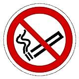 10 Aufkleber Piktogramm Rauchen verboten 10cm Ø selbstklebende Folie nach BGV A8, ASR A1.3, DIN 4844, Nichtraucher Symbol, No Smoking