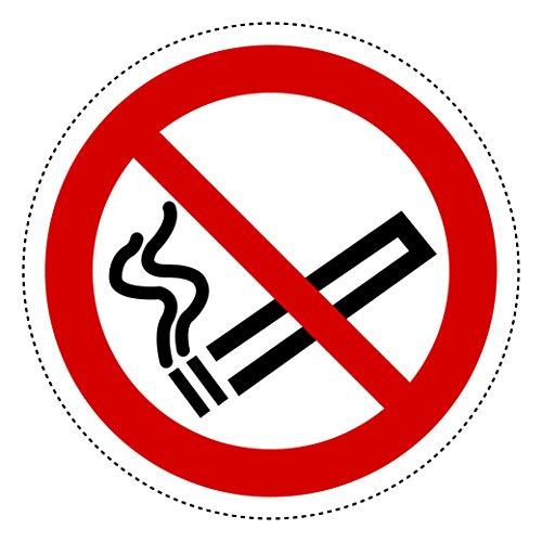 10 Aufkleber Piktogramm Rauchen verboten 10cm Ø selbstklebende Folie nach BGV A8, ASR A1.3, DIN 4844, Nichtraucher Symbol, No Smoking -