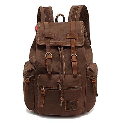 Vintage Unisex Casual Leather Backpack Canvas Rucksack Bookbag Satchel Hiking Backpack Travel Outdoor Shouder Bag
