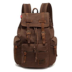 Vintage Unisex Casual Leather Backpack Canvas Rucksack Bookbag Satchel Hiking Backpack Travel Outdoor Shouder Bag