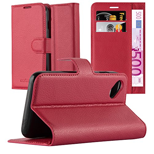 Cadorabo Coque pour WIKO Sunny en Rouge Cerise - Housse Protection avec Fermoire Magnétique, Stand Horizontal et Fente Carte - Portefeuille Etui Poche Folio Case Cover