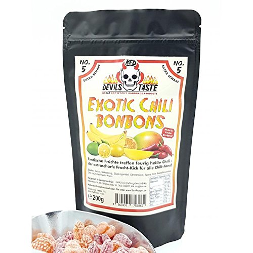 Preisvergleich Produktbild Exotic Chili Bonbon - XTRA SCHARF - 200g - RED DEVILS TASTE im ZIP Beutel