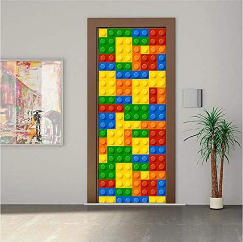 ruoxin312 Tür Aufkleber 3D Kreative Für Kinderzimmer Cartoon Wohnkultur Aufkleber Lego Bricks Poster Kinder Schlafzimmer Tapete 77X200 cm
