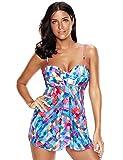 KamiraCoco Bikini Damen Sommer Rock Badebekleidung Bunten Tankini mit Hotpants Große Größe Bademode Badeanzug (XXXXL (EUR 46-48), Gefärbt)