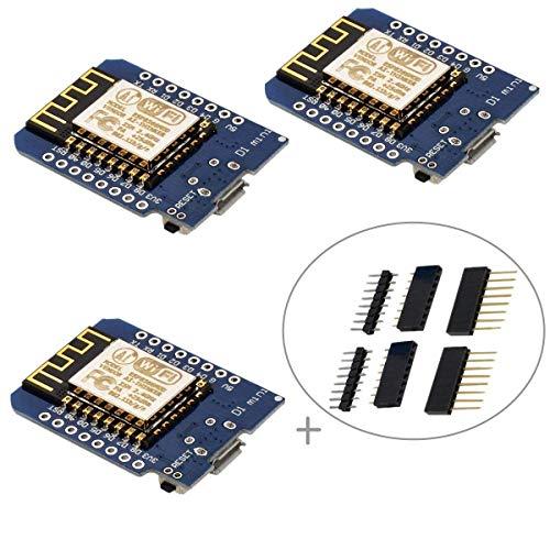 IZOKEE D1 Mini NodeMcu Lua 4M Bytes ESP8266 ESP-12F WLAN WiFi Internet Module Entwicklungsboard für NodeMcu Arduino, 100% Compatible with WeMos D1 Mini (Packung mit 3) D1 Mini