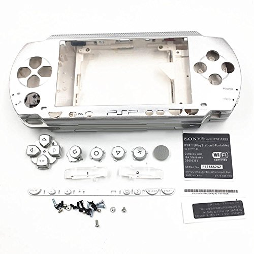 Gehäuse Case Shell Cover mit Tasten Schraubenzieher für Sony PSP 10001001Silber