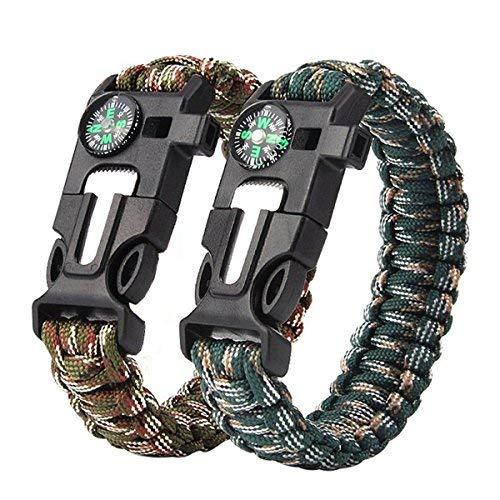 Survival Armband, 2er Set, Kompass, Messer, Feuerstarterm, Signalpfeife, Paracord, Anleitung zum Flechten, Outdoor überlebensausrüstung für Wandern und Camping (Bracelet)