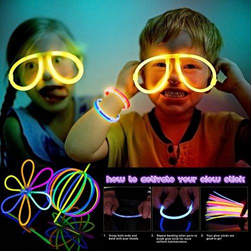 51UI2uyHgrL - 543 Pack, 250 Varitas Luminosas, Glow Sticks, 293 Conectores - Pulseras, Collares, Gafas, Bolas Luminosas, Flores - Seguro y No Tóxico| Niños, Cumpleaños, Fiestas de Neón, Decoracion, Piñatas.