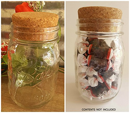 Genuine Clear BALL MASON JAR (pint) with Large Cork Lid/Stopper by (Pint Mason Jar)