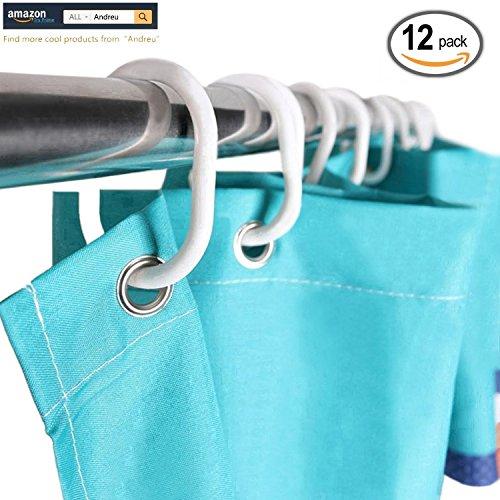 andreur-12-pack-bathroom-curtain-hook-curtain-poles-shower-rod-hook-hanger-white-color-plastic-ring-